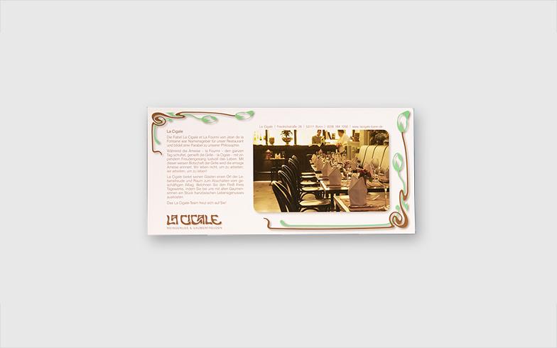 Flyer zur Webseite für Bonner Restaurant La Cigale