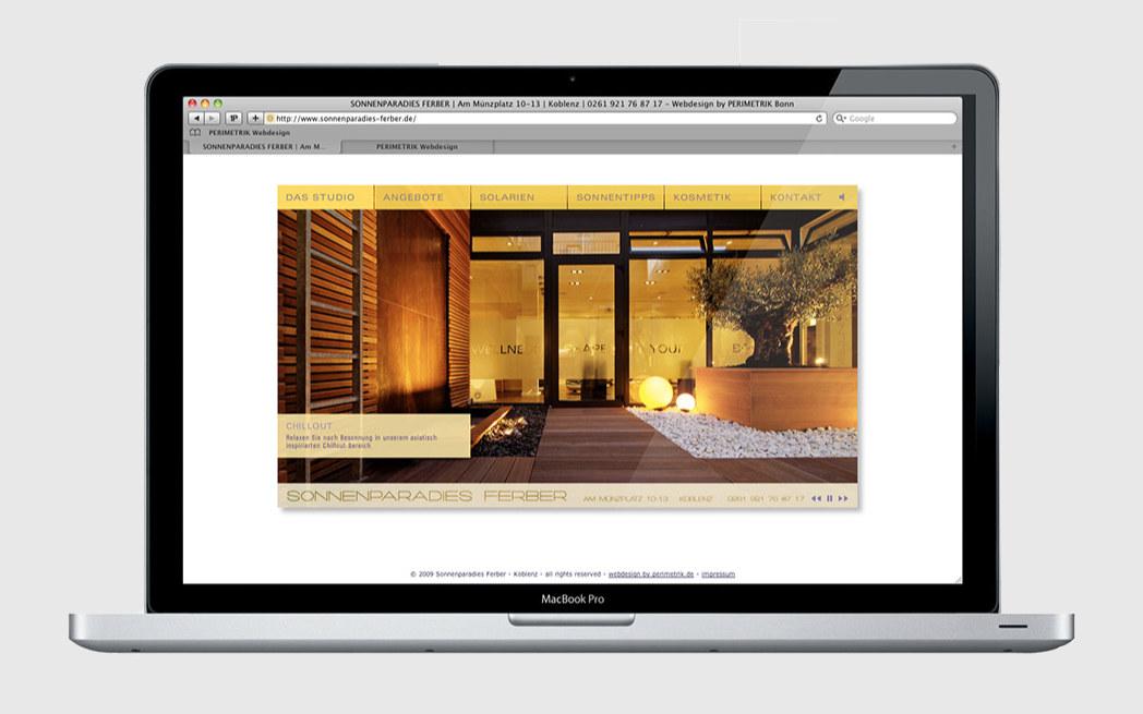 Elegante Homepage für Sonnenparadies Ferber in Koblenz