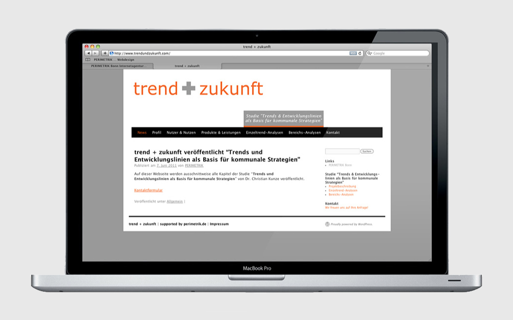SEO-optimierter WordPress Blog für Start-up trend + zukunft