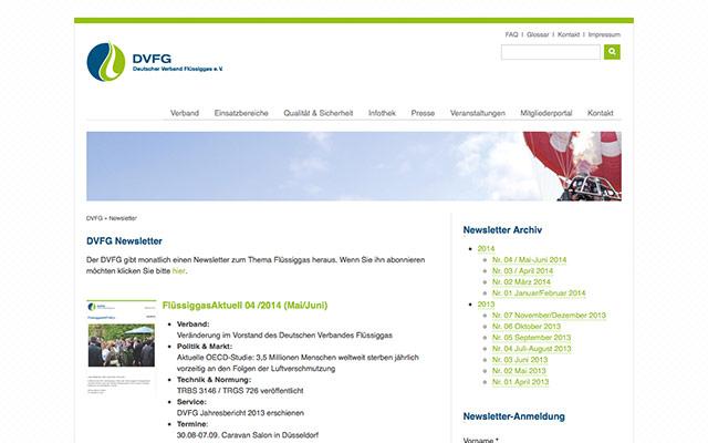 Newsletter-Archiv in der TYPO3 Webseite des DVFG – erstellt von PERIMETRIK®