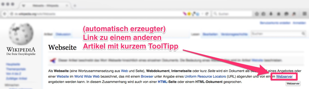 Wikipedia: Artikel zu Website mit Link zu Webserver auf Wikipedia