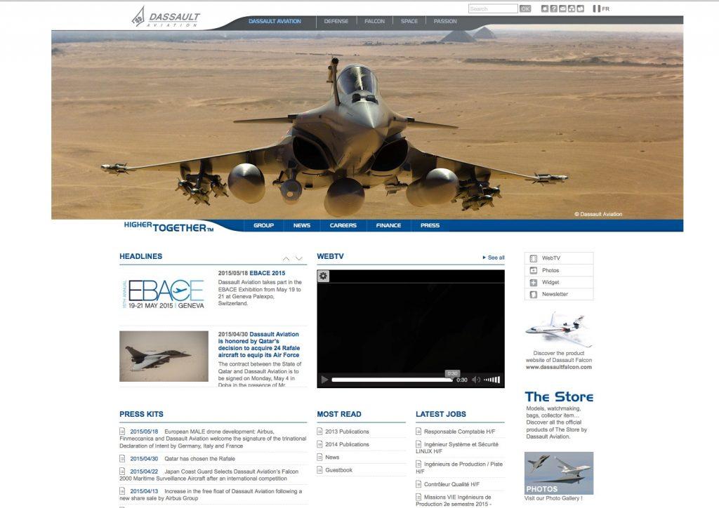 Die Website des Konzerns Dassault Aviation ist mit WordPress erstellt