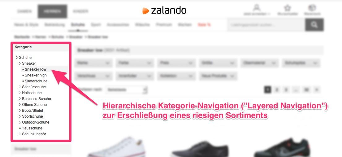 Zalando: Hierarchische Kategorie-Navigation der Layered Navigation zur Erschließung eines riesigen Sortiments