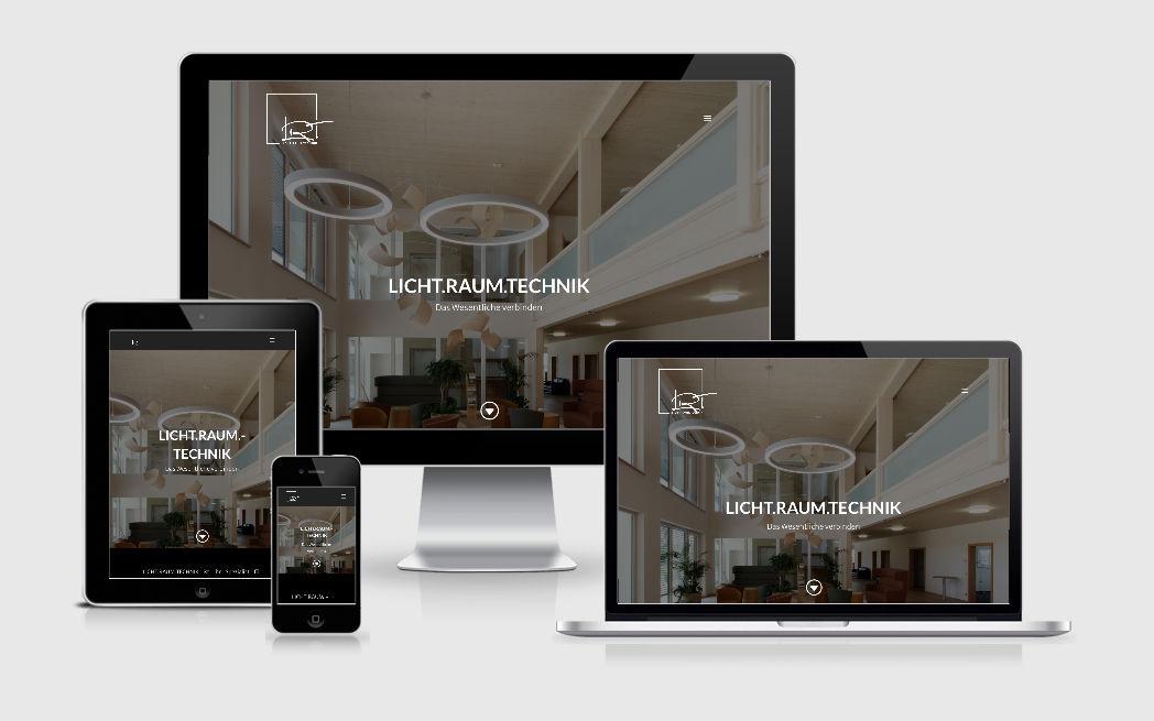 Stimmungsvolle Webvisitenkarte für Licht.Raum.Technik