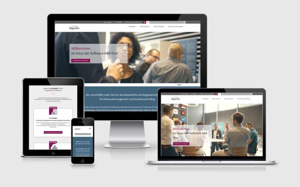 Unternehmenswebsite mit integrierten Produkt-Microsites für Ingentis