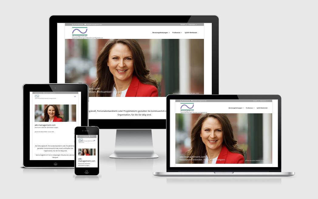 Attraktive Unternehmenswebsite für Aiki-Management