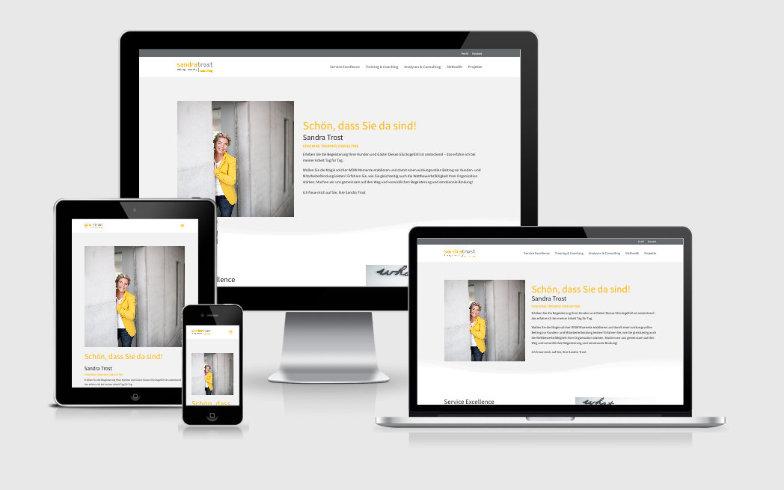 Professionelle Webvisitenkarte für Unternehmensberaterin Sandra Trost