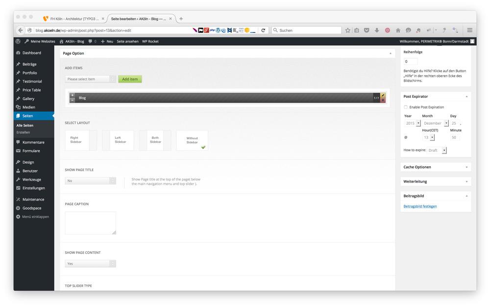 Backend der WordPress Website Blog.AKoeln.de