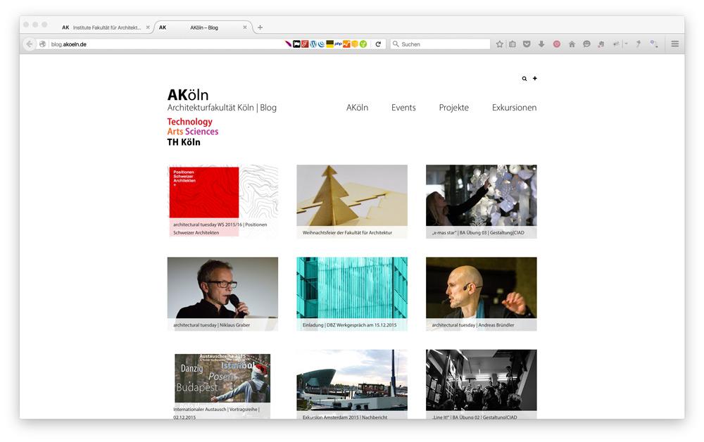 Frontend der WordPress Website Blog.AKoeln.de