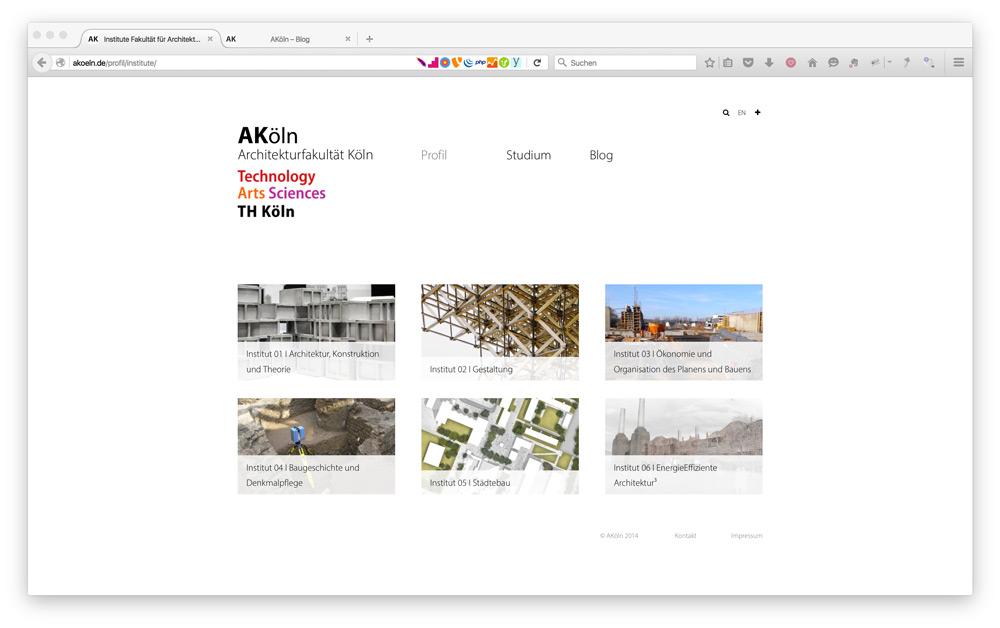 Frontend der TYPO3 Website AKoeln.de
