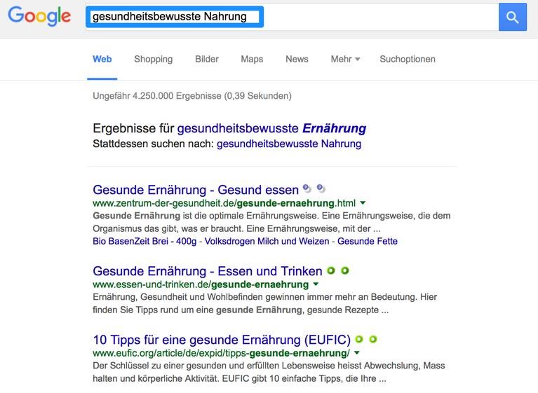 Google-Suche nach sinnverwandten Keywords