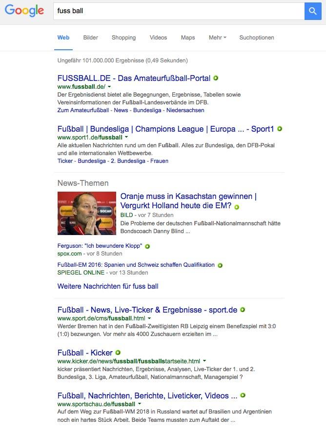 Google-Suche nach Keyword Fuss Ball