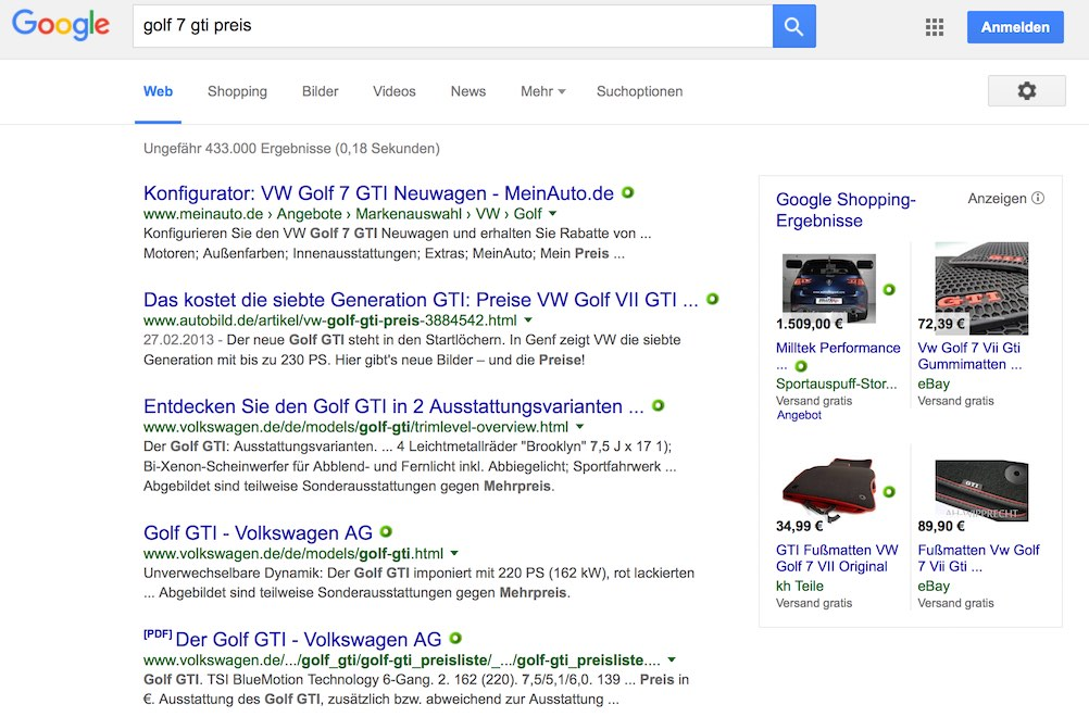 Google-Suche nach einem Long Tail Keyword