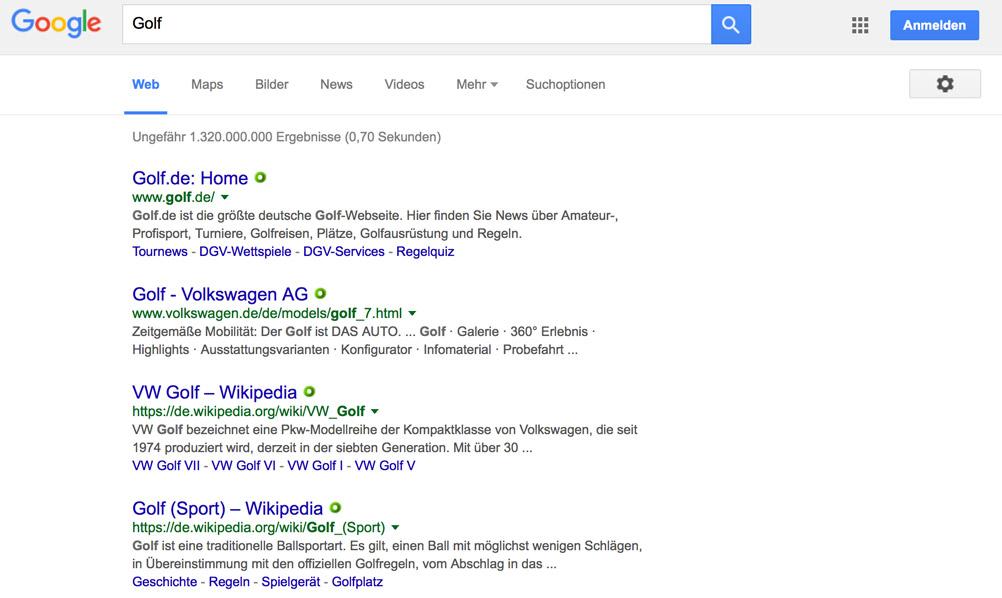 Google-Suche nach einem Generischen Keyword