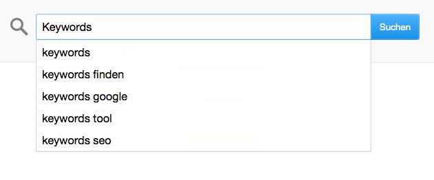 Google Suche mit Keyword Suggestions bzw. Autovervollständigung bzw. Treffervorschlägen