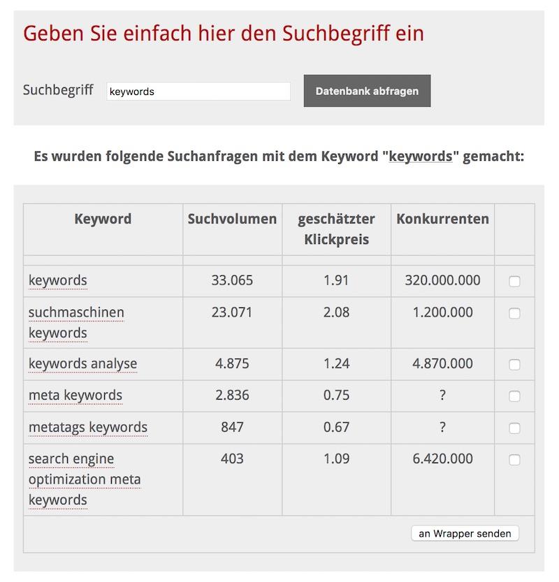 Keyword Tool mit eigener Keyword Datenbank: RankingCHECK