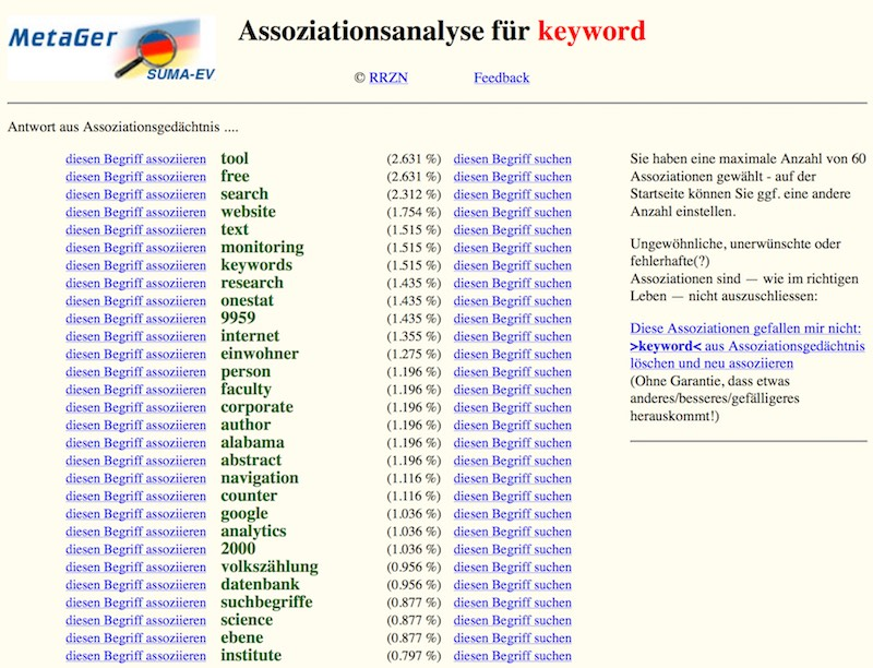 Keyword Tool MetaGer ermittelt Assoziationen