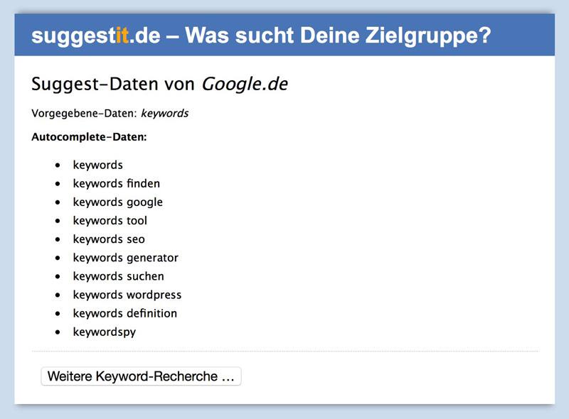 Einfaches Keyword Tool SuggestIt.de