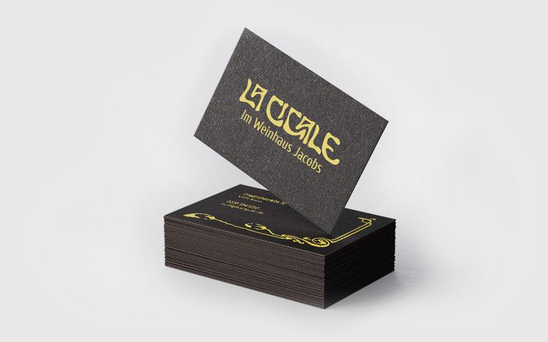 Visitenkarten mit Goldfolienprägung für La Ciagle, Bonn
