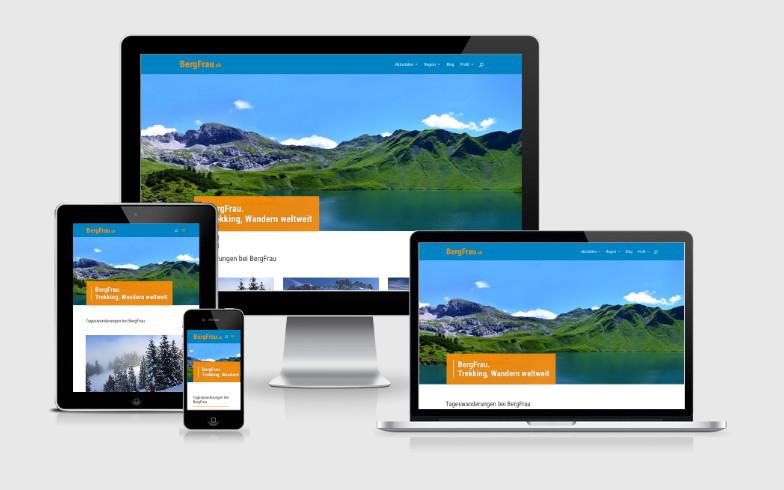 Moderne WordPress-Website mit dynamischen Inhalten für BergFrau.ch