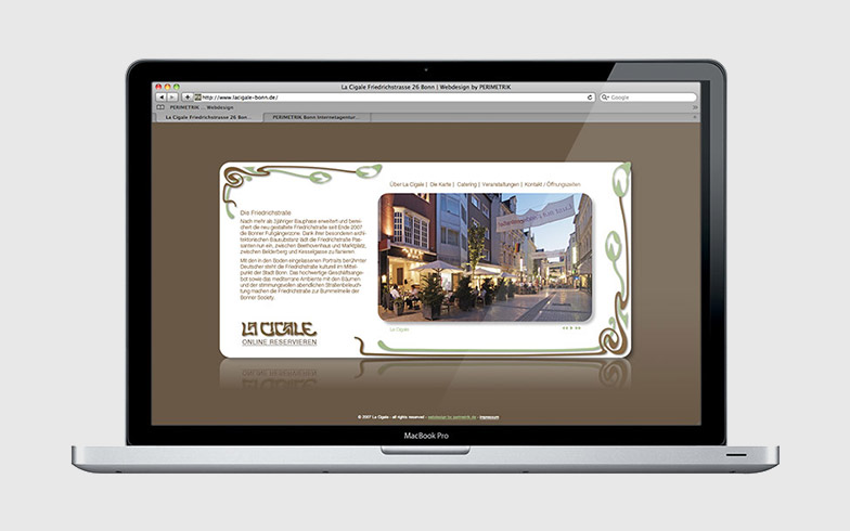 Entwicklung einer Portfolio-Website mit Flash für das Bonner Restaurant La Cigale