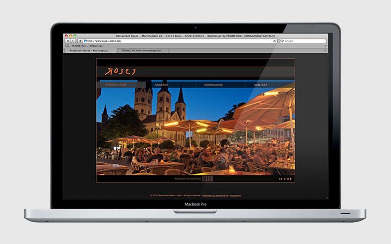 Homepage mit professionellen Fotos & Imagefilm für Restaurant Roses Bonn